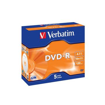Диск DVD-R Verbatim Jewel Case 5шт (4.7GB, 16x)