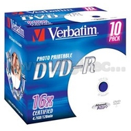 Диск DVD-R Verbatim Jewel Case 10шт (4.7GB, 16x, Printable, 43521)