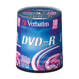 Диск DVD-R Verbatim Cake Box 100шт (4.7GB, 16x, 43549)