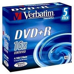 DVD+R (болванка) Verbatim Slim Case 5шт (4.7GB, 16x, Color, 43556)