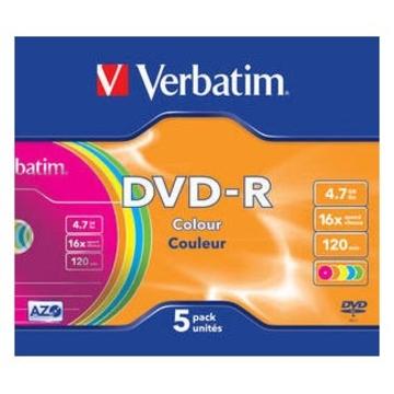 Диск DVD-R Verbatim Slim Case 5шт (4.7GB, 16x, Color, 43557)