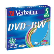 DVD-RW Verbatim Slim Case 5шт (4.7GB, 4x, Color, 43563)