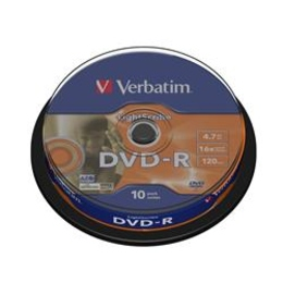 Диск DVD-R Verbatim Cake Box 10шт (4.7GB, 16x, Lightscribe, 43643)
