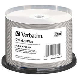 Диск DVD-R Verbatim Cake Box 50шт (4.7GB, 16x, Full Ink Printable Pro, 43744)
