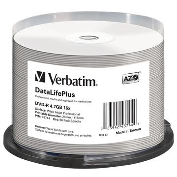 Диск DVD-R Verbatim Cake Box 50шт (4.7GB, 16x, Full Ink Printable Pro, 43744)