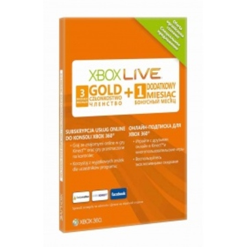 Карточка Microsoft Live Xbox 360 Gold (подписка на 3 месяца + 1 месяц бонус)