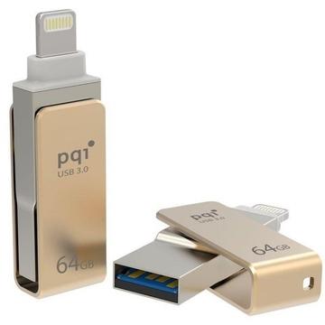 Флешка USB 3.0 PQI iConnect Mini 64 гб Gold