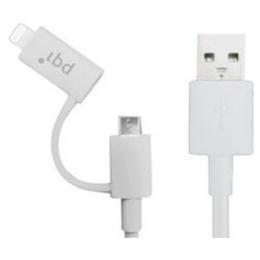 Кабель PQI i-Cable USB2.0-Lightning-microUSB Du-Plug White (0,9м)