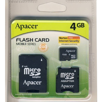 MicroSDHC 04Гб Apacer Класс 4 (2 адаптера)