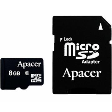 MicroSDHC 08Гб Apacer Класс 10 (адаптер)
