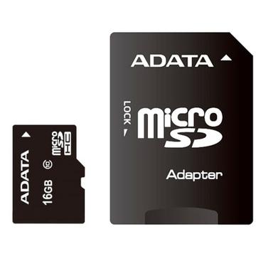 MicroSDHC 16Гб A-Data Класс 10 (адаптер)