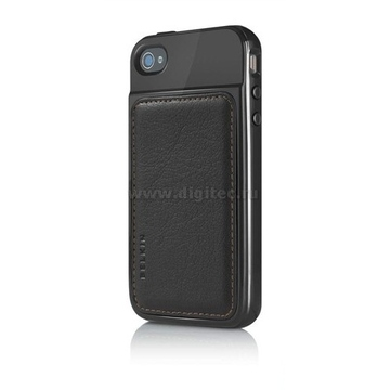 iPhone4 Чехол полиуретан Black (в комлекте пленка для защиты экрана)
