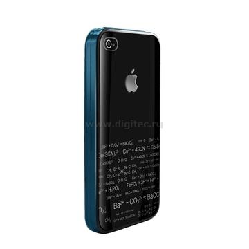 iPhone4 Чехол полиуретан синий (в комлекте пленка для защиты экрана)