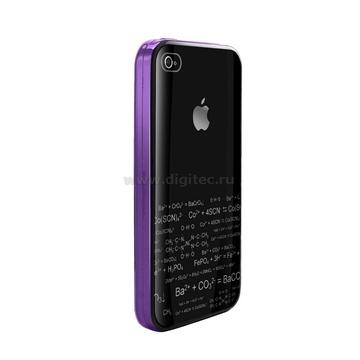 iPhone4 Чехол полиуретан фиолетовый (в комлекте пленка для защиты экрана)