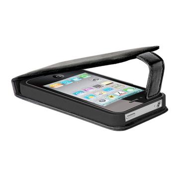 iPhone4 Чехол кожаный черный (в комлекте пленка для защиты экрана, DLA177B)
