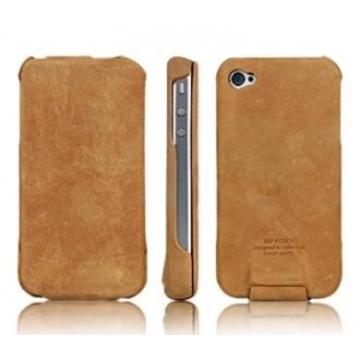 iPhone4 Чехол кожаный кремовый (в комлекте пленка для защиты экрана)