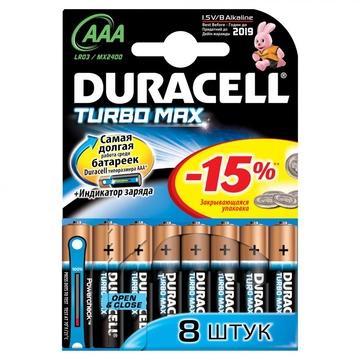 Батарейка Duracell LR03-8BL Turbo (щелочная, LR03 (AAA), 1.5 В, 6 шт. +2 бесплатно, в блистере)