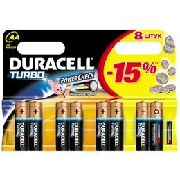 Батарейка Duracell LR6-8BL Turbo (щелочная, LR6 (AA), 1.5 В, 6 шт. +2 бесплатно, в блистере)