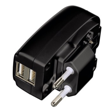 Зарядное устройство Hama H-106302 Black (для iPad/iPhone/iPod, сетевое, 100-240V, 2A, 2 USB порта, H-106302)