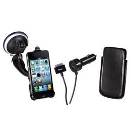 Автокомплект Hama Black (для iPhone 4, 3 в 1, автодержатель, кожаный чехол, АЗУ 12В, H-106645)