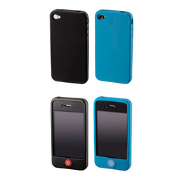 Футляр Hama Skin Black Blue (для iPhone 4, силикон, набор 2шт, H-107127)
