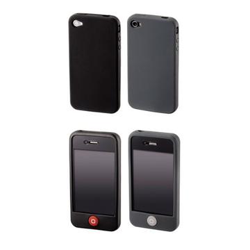 Чехол Hama Skin Black&Grey (для iPhone 4, силикон, набор 2шт)