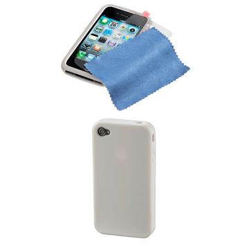 Комплект Hama Gel Skin White (комлект из футляра/пленки/салфетки из микрофибры, для iPhone4, H-107155)