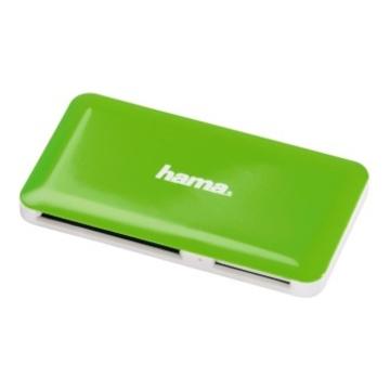 Ридер USB3.0 Hama Slim White Green (USB3.0, для всех стандартов карт памяти, кроме xD, H-114840)