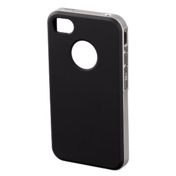Футляр Hama Hybrid Black Silver (для iPhone4/4S, пластик, H-118727)