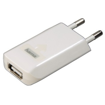 Зарядное устройство Hama H-14123 White (для iPhone/iPod, USB, сетевое 220V/1A, H-14123)