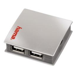 USB-хаб Hama Black Silver (на 4 гнезда, питание от сети, 480 Мбит/сек, H-39831)