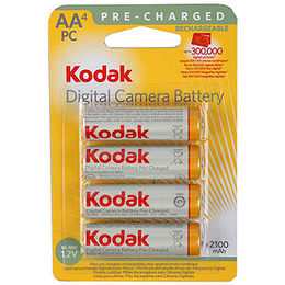 Аккумулятор Kodak Pre-Charg KAARPC-4 (предзаряженные Ni-Mh аккумуляторы, 2100 мАч, HR6 (AA), 1.2 В, 4 шт., в блистере, 80/640/15360)