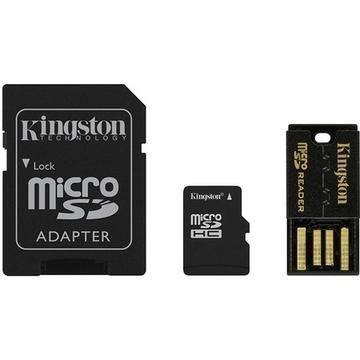MicroSDHC 08Гб Kingston Multi-Kit Класс 10 (адаптеры miniSD, SD, USB)
