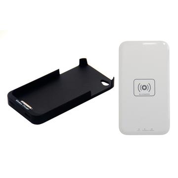 Зарядное устройство Present QI Black (беспроводное, для iPhone 4/4S, с черным чехлом)