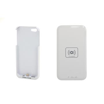 Зарядное устройство Present QI White (беспроводное, для iPhone 5/5S, с белым чехлом)