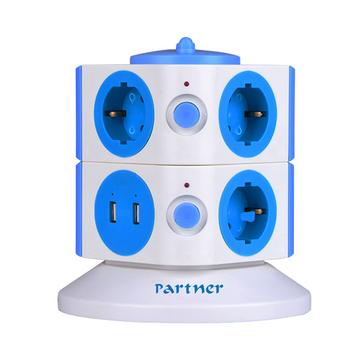Зарядное устройство Partner (2xUSB по 2А, 7 розеток по 16А)