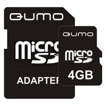 MicroSDHC 04Гб QUMO Класс 4 (адаптер)
