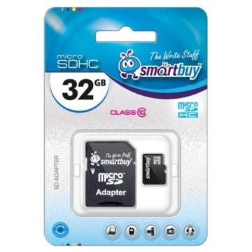 MicroSDHC 32Гб Smartbuy Класс 10 (адаптер)