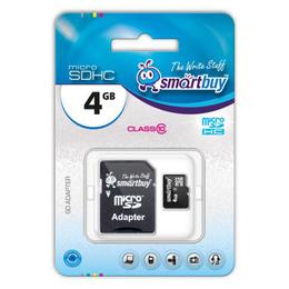 MicroSDHC 04Гб Smartbuy Класс 10 (адаптер)