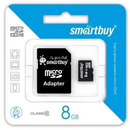 MicroSDHC 08Гб Smartbuy Класс 10 (адаптер)