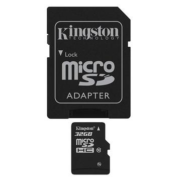 MicroSDHC 32Гб Kingston Класс 10 (адаптер)
