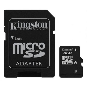 MicroSDHC 08Гб Kingston Класс 10 (адаптер)