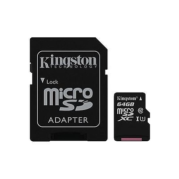MicroSDXC 64Гб Kingston Класс 10 UHS-I 45MB/s (адаптер)