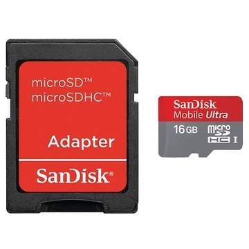 MicroSDHC 16Гб Sandisk Класс 10 UHS-I (Mobile Ultra Android, адаптер)