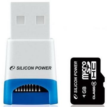 MicroSDHC 04Гб Silicon Power Класс 4 (USB ридер)