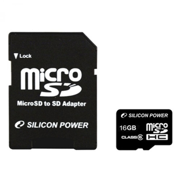 MicroSDHC 16Гб Silicon Power Класс 4 (адаптер)