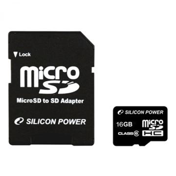 MicroSDHC 32Гб Silicon Power Класс 4 (адаптер)