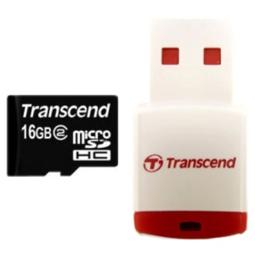 MicroSDHC 16Гб Transcend Класс 10 (ридер RDP3)