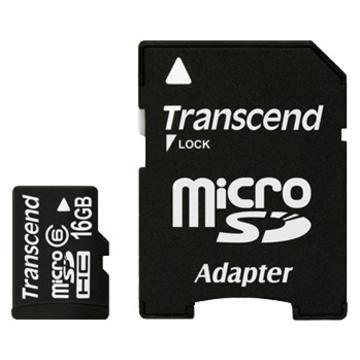 MicroSDHC 16Гб Transcend Класс 6 (адаптер)
