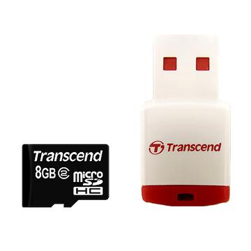 MicroSDHC 08Гб Transcend Класс 10 (ридер RDP3)
